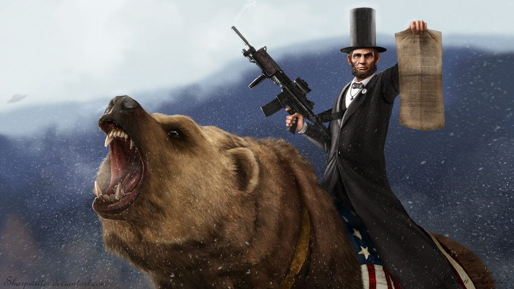 abe lincoln riding grizzly bear holding gun