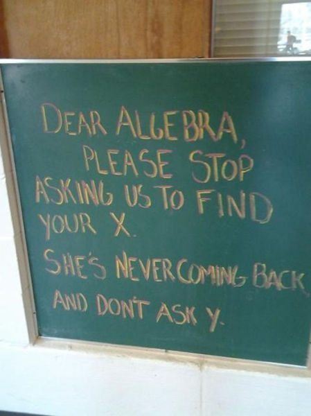 wtf college algebra funny sign