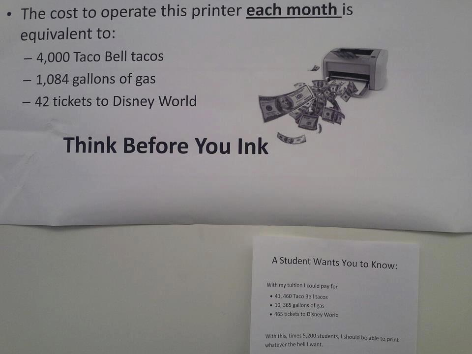 wtf college printer sign