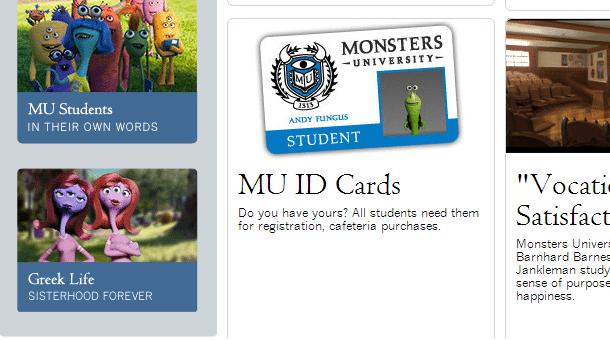 Monsters University Website