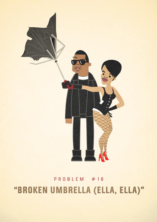 Ali Graham Jay Z 99 Problems Illustration Broken Umbrella Ella Ella Rihanna