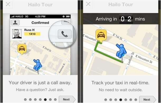 HAILO Taxi Cab App Review Taxi Confirmation Contact Driver Track your Taxi