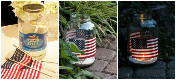 Pickle Jar Crafts DIY 4th of July Candles Flag Candle Holders