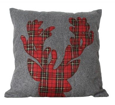Plaid Reindeer Pillow Dormify