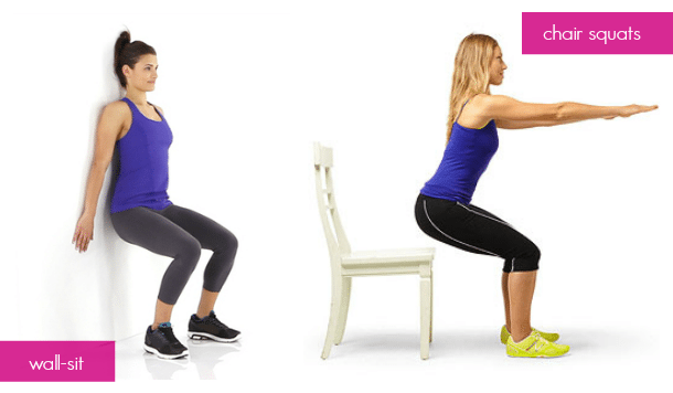 Dorm Room Exercises - Wall-Sit - Chair Squats