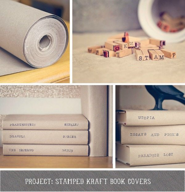 DIY Stamped kraft book covers
