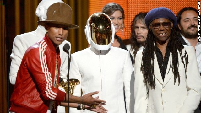 Daft Punk Pharrell Williams Get Lucky Record of the Year 2014 Grammys