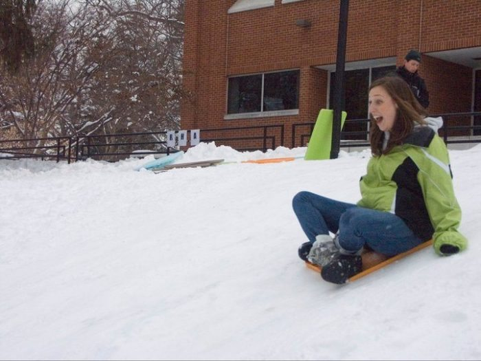 Sledding at Drew University