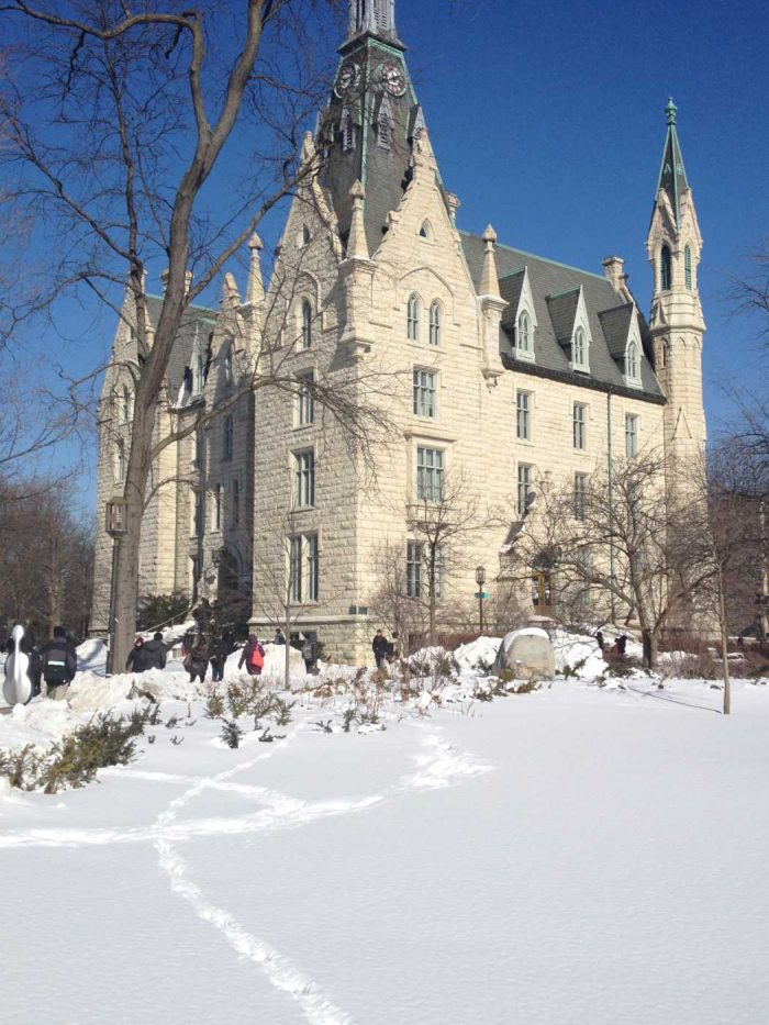 University Hall, Northwestern's oldest building, amidst the snow covered campus