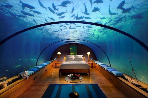 The Underwater Suite at Conrad Maldives Rangali Island in the Indian Ocean