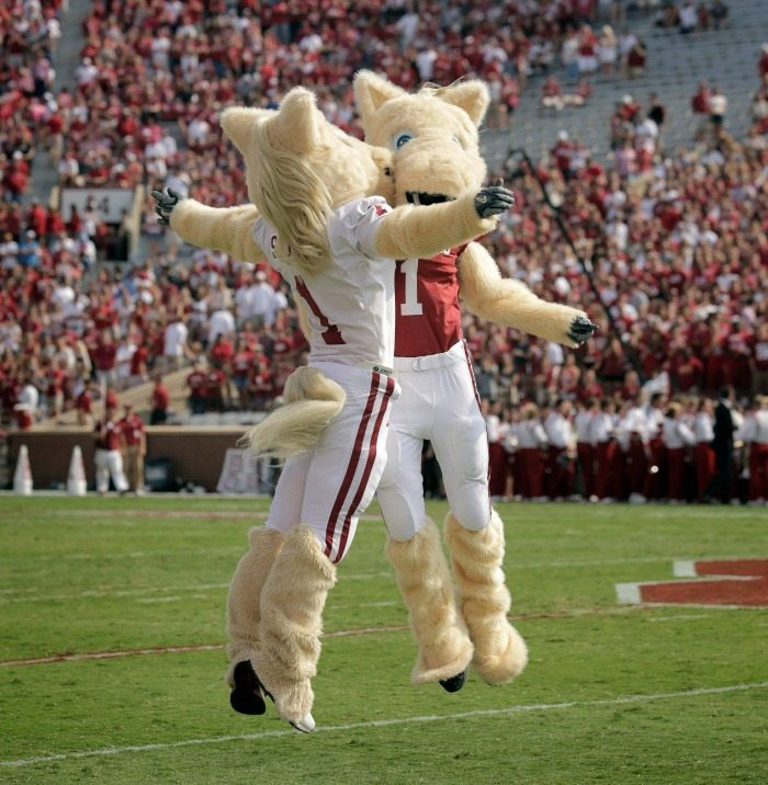Oklahoma Sooners Boomer and Sooner Chest Bump Mascot Monday