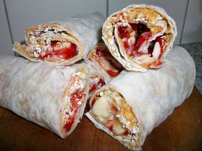Peanut Butter and Jelly Granola Wrap