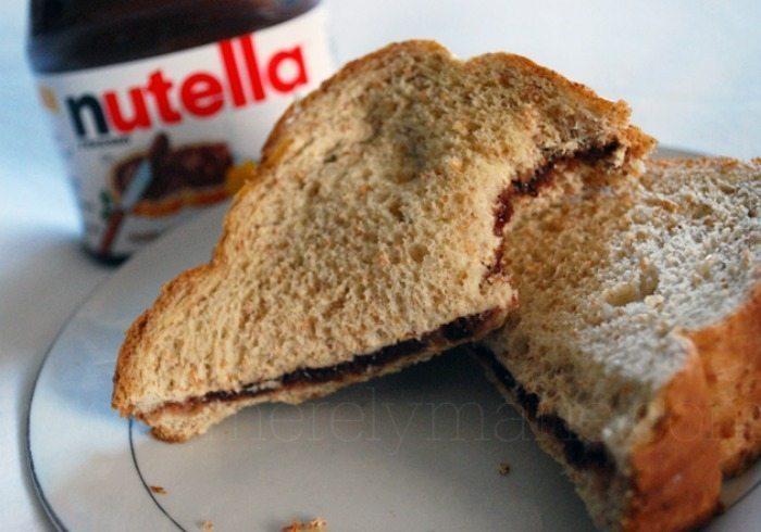 nutella and strawberry jam sandwich