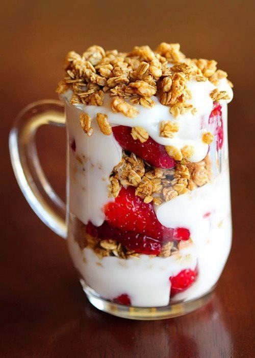 Strawberry Granola Yogurt Parfait College Breakfast