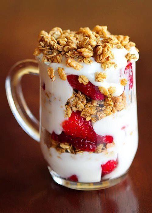 Strawberry Granola Yogurt Parfait College Breakfast
