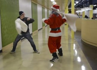 liberty university santa pillow fights