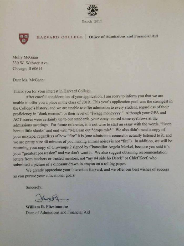 harvard rejection letter funny
