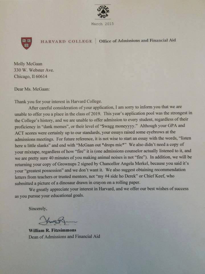 Harvard Rejection Letter Is All Of Us