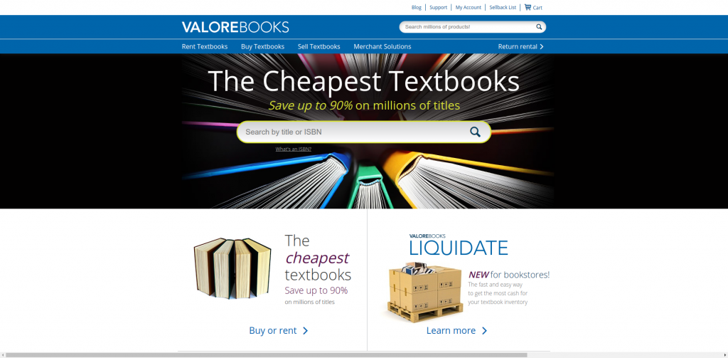 valorebooks cheapest college textbooks website homepage
